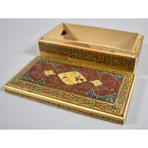 38 - A North Indian or Persian Decorated Box, The Lid Decorated with Hunting Scene, 16cm wide...