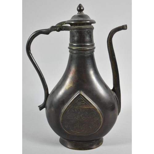 39 - A Heavy Oriental Patinated Bronze Coffee Pot with Hinged Lid and Tapering Square Spout, 28cm high...