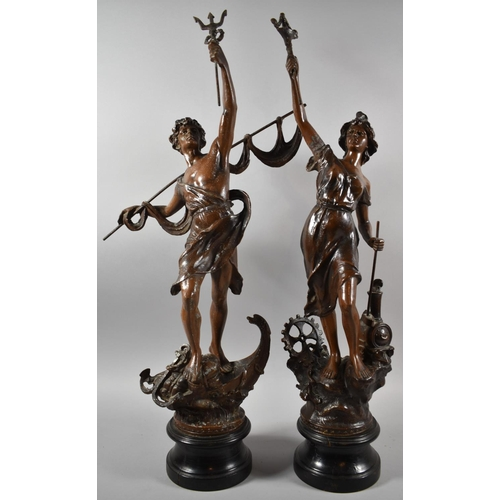 46 - A Pair of Large French Patinated Spelter Figures, Fishing and Industry, 70cm high...