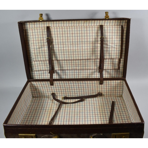 51 - A Vintage Ostrich Skin Suitcase Monogrammed B.A.M, 61cm Wide, with keys...