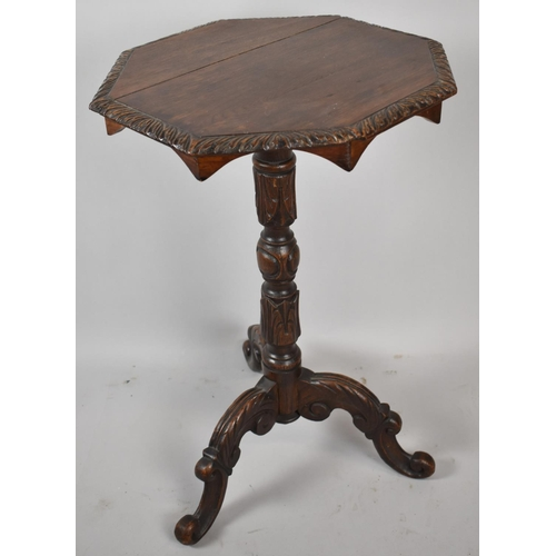 57 - An Edwardian Oak Octagonal Topped Tripod Table with Carved Border and Turned Support, 46cm Diameter...