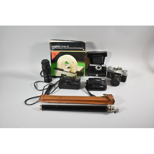 630 - A Collection of Vintage Cameras and Photographic Equipment to Include Leather Case Tripod, Telephoto...