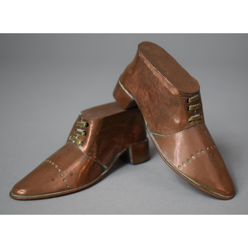 7 - A Pair of Novelty Late Victorian Copper Ornaments in the Form of Boots, 9cm Long...