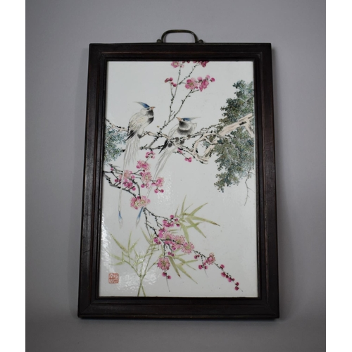 A Chinese Republic Porcelain Plaque with Hand Painted Decoration Depicting Birds In Tree with Seal Mark and Housed in Wooden Frame, 32cms Wide by 57cms High