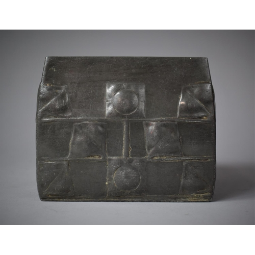 A Tudric Archibald Knox (1864-1933), Liberty & Co. Pewter Box with Stylised Celtic Design in Relief, c.1903, of Square Tapered Form, 10cm High x 12 cm Wide