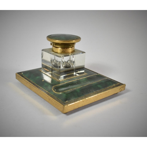1 - A Mid 20th Century Gilt Metal and Malachite Effect Desktop Inkstand, 11.5cm Long...