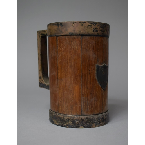 11 - An Early 20th Century Silver Plate Mounted Oak Tankard with Shield Escutcheon, Missing Base Ring, 14...