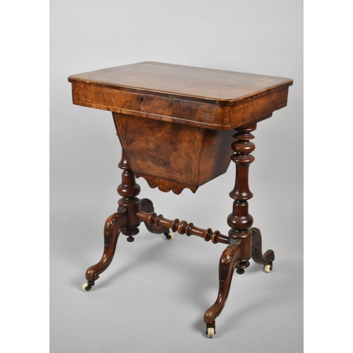 13 - A Victorian String Inlaid Burr Walnut Ladies Work Table with Hinged Lid to Fitted Interior Incorpora...