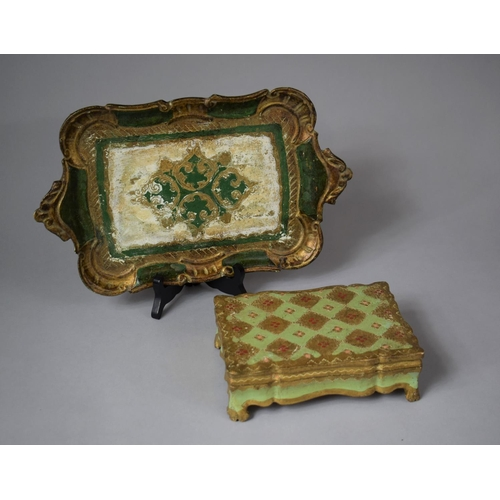 15 - Two Gilt and Green Decorated Papier Mache Items, Tray and Lidded Box, Tray 37cm wide...