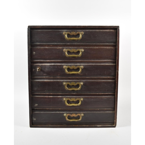 21 - A Late Victorian Six Drawer Collectors Chest with Brass Drop Handles, 40cm x 26.5cm x 46cm high...
