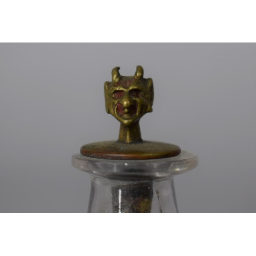 22 - A Small Glass Opium/Snuff Bottle Flask Having Novelty Brass Spoon with Devil's Head Finial, 8cm High...