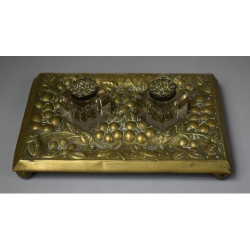 27 - An Early 20th Century Brass Desk Top Inkstand with Two Ink Bottles, Both Brass Hinged Lids Loose, Tr...