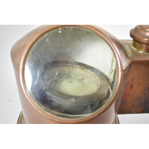 35 - A Sestrel Copper Binnacle with Inner Gimballed Compass and Side Spirit Burner Compartment Box, (Miss...