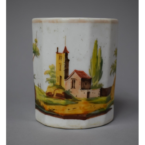 39 - An Early 19th Century Continental Heavy Based Porcelain Tankard with Hand Painted Decoration Depicti...