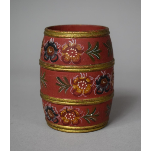 40 - A Painted Wooden Spill Vase in the form of a Barrel, Decorated with Flowers, 9cm high...