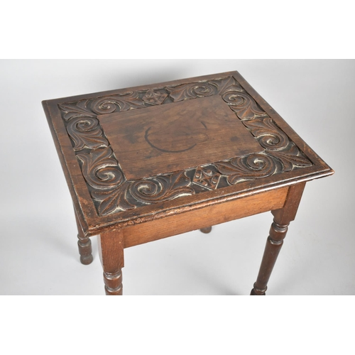 45 - An Edwardian Oak Square Topped Occasional Table with Deeply Carved Border, 60cm Square...