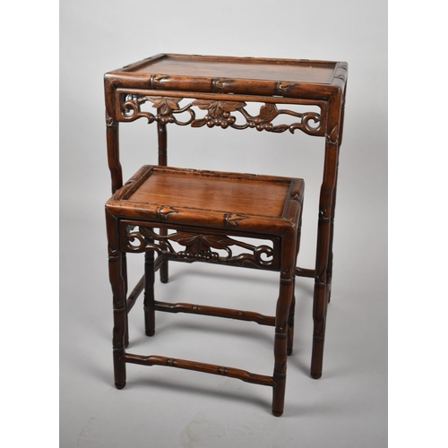49 - Two Chinese Hardwood Tables with Carved and Pierced Decoration, 44cm and 33cm Wide...