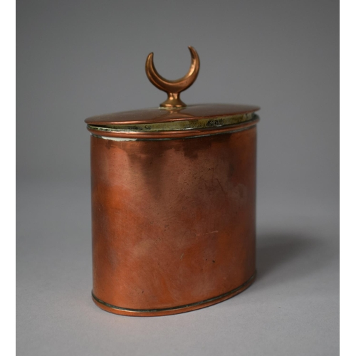 5 - A Late 19th Century Copper Tea Caddy of Oval Form with Hinged Lid Having Cresent Finial Stamped, Sta...