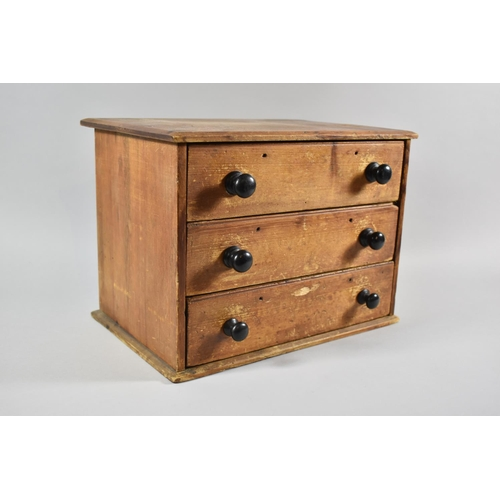 50 - A Late 19th Century Stripped Pine Three Drawer Collectors Cabinet with Turned Handles. 36cm wide...