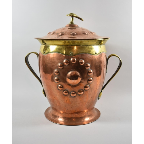 51 - A Liberty Arts and Crafts Copper and Brass Two Handled Vase Shaped and Lidded Coal Bucket with Unrel...