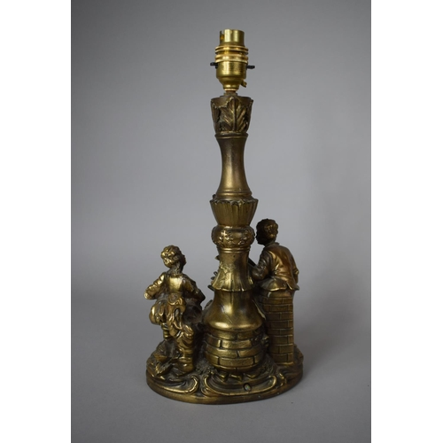 55 - A Gilt Painted Resin Table Lamp Base, Depicting Boy Playing Mandolin and Girl with Basket of Fruit, ...