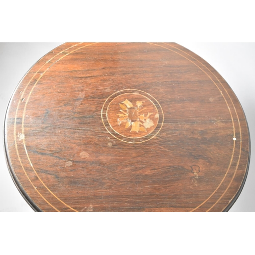58 - An Edwardian Inlaid Circular Table with Stretcher Shelf, Extended Cabriole Supports, 60cm Diameter...