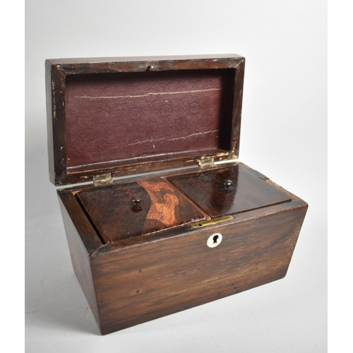 6 - A 19th Century Rosewood Two Division Tea Caddy of Sarcophagus Form, in Need of Restoration and Missi...