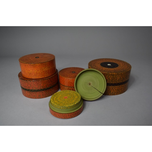9 - A Collection of Five Indian Graduated Circular Lacquered Boxes, The Largest 11.25cm...