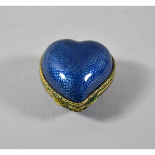 1 - A Small Blue Enamelled Gilt Metal Box in the Form of a Heart, 4.25cm high...