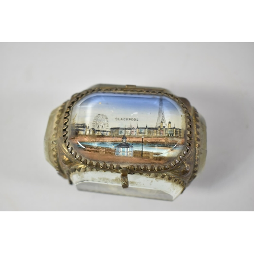 11 - A Late 19th Century Souvenir Gilt and Glass Box for Blackpool on Scrolled Feet, 8cm wide...