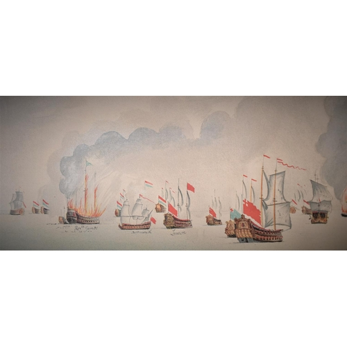 An Interesting Collection of 18th or 19th Century Coloured Prints Depicting the Battle of Sole Bay, Which was the First Naval Battle of the 3rd Anglo Dutch War. Annotated with Ship's names, Commanders etc.