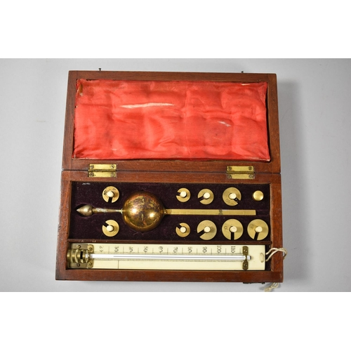 24 - A Mahogany Cased Sikes's Hydrometer, Thermometer AF, 20cm Wide...
