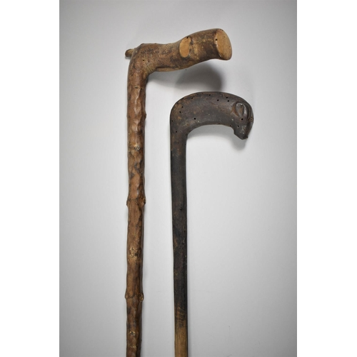 27 - Two Rustic Crops, One with Handle in the Form of a Mouse...