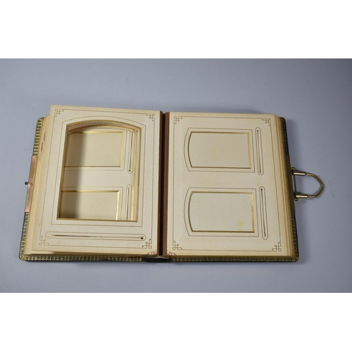29 - A Late Victorian Leather Bound Photograph Album with Gilt Clasp, No Photographs, 21cm x 18cm...