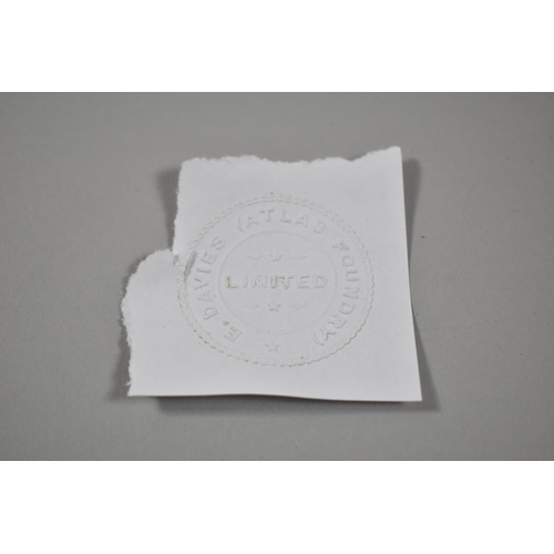 46 - A Late 19th/Early 20th Century Letter Stamp for E Davis (Atlas Foundry) Ltd, 18cm Long...