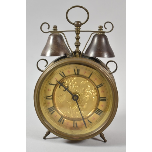 50 - An Early 20th Century German Drum Alarm Clock with Two Bells, Working Order, 25cm high...