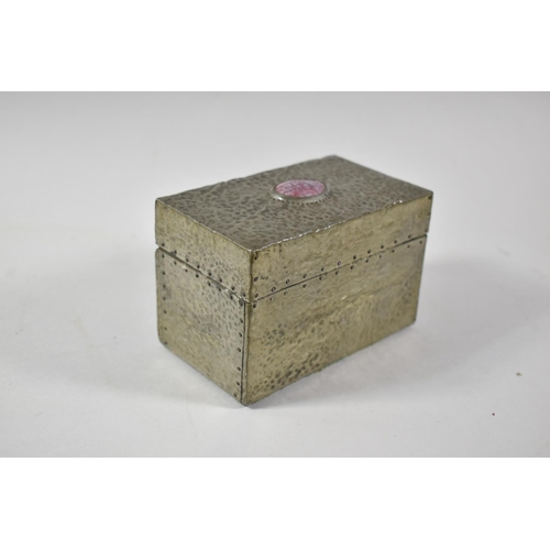 57 - A Pewter Covered Two Division Card Box with Cabouchon to Hinged Lid, 12cm Wide...