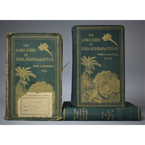 Three Editions of The Game Birds of India, Burmah & Ceylon by Hume and Marshall, Vol.I 1879, Vol.II 1880 and Vol.III 1881, With Various Condition Flaws etc. 128 Plates are Present and 22 Plates are Missing