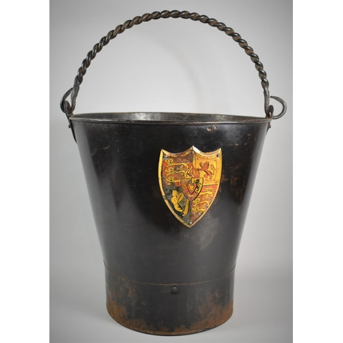 An Early 19th Century Metal Fire Bucket with Royal Arms (1816-1837), Barley Twist Loop Carrying Handle, 38cm high