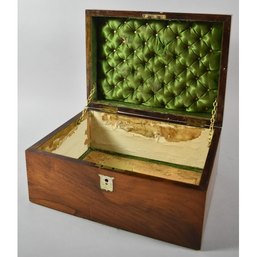 1 - A Late 19th Century Rosewood Ladies Workbox with Mother of Pearl Escutcheons, Missing Inner Tray, 30...