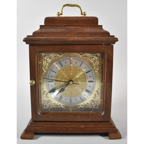 11 - A Mid/Late 20th Century Mahogany Cased Bracket Clock with Battery Movement, 28cm high...