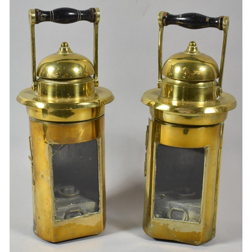 12 - A Pair of Cylindrical Brass Oil Lamps, 22cm high
