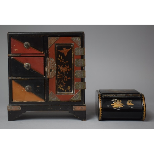 15 - A Small Chinese Lacquered Three Drawer Collectors Cabinet, 17cm high Together with a Chinoiserie Tin...