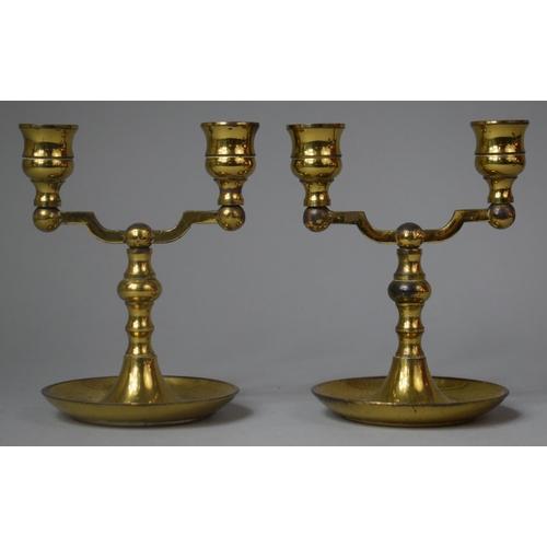 17 - A Pair of Modern Two Branch Brass Candlesticks, 14.5cm high...