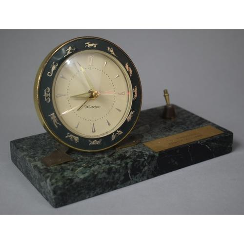 18 - A Presentation Westclox Desktop Alarm Clock on Green Marble Base with Pen Rest (AF), 18cm wide...