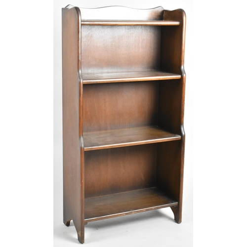 19 - An Oak Galleried Waterfall Four Shelf Open Bookcase, 50.5cm Wide and 100cm High...