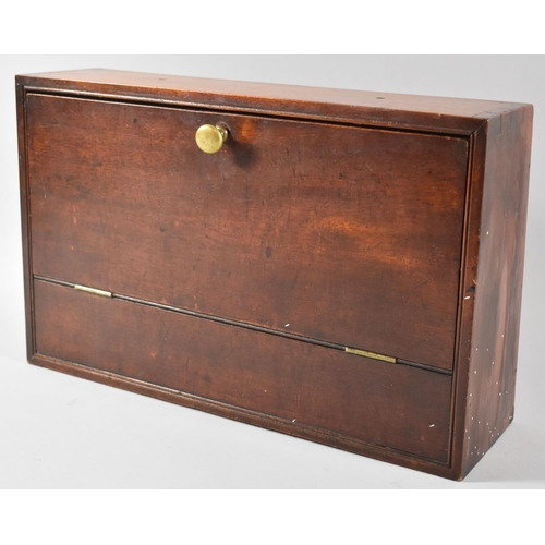 2 - A Late 19th/Early 20th Century Wall Hanging Mahogany Box with Pull Down Front, 40cm wide...