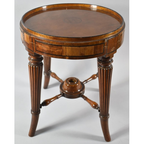 21 - A Former Swivel Top Piano Stool Base Converted to Table with Turned Reeded Tapering Legs, 34cm Diame...