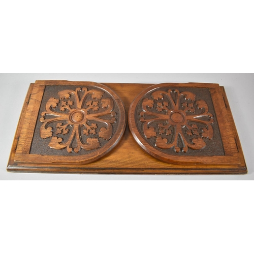 23 - A Late Victorian Carved Book Rest with Hinged Arched End Panels, 51cm wide...