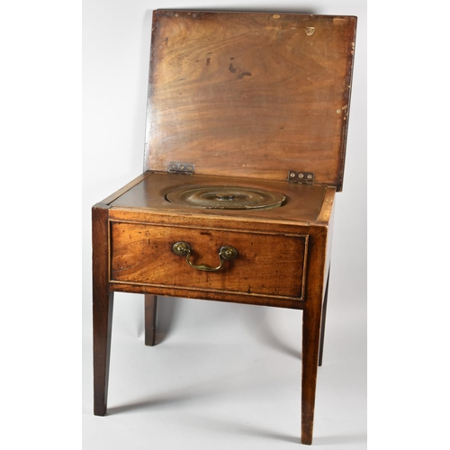 24 - A Mid 19th Century Oak Box Commode with Hinged Top, Missing Liner, 48cm wide...